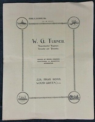 W.G. Turner Model Engineering & Steam Catalogue Early 20th C With Illustrations