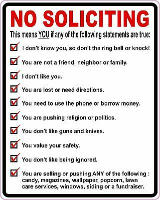 No Soliciting Vinyl Sticker Decal Sign Trespassing LG *FREE DOMESTIC SHIPPING*
