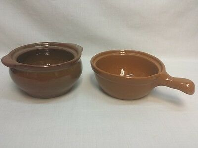 2 Vintage Coors Potter Chefsware Pot Dish With Handle Onion Soup VGUC