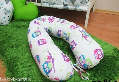 Maternity / Nursing Support Body Pillow with Tie Cord 160cm - OWLS (pink)