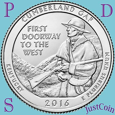 2016 Pds Cumberland Gap National Park Three Quarters Set U.s.mint Uncirculated