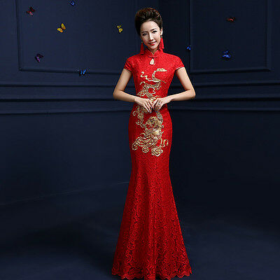 New Style Long Prom Party Dress Lace Mermaid Wedding Gown Chinese Cheongsam 2016