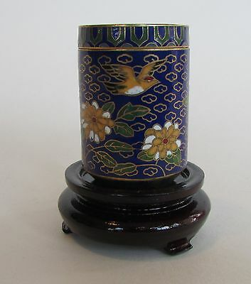 Vintage Chinese Cloisonne Collectable Flower Ornament Cylinder Box