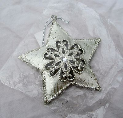 Silver Patriotic Star 4th of July Americana Country Western Primitive Ornament