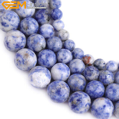 """Natural Gemstone White & Blue Sodalite Stone Loose Beads For Jewelry Making 15"""""""