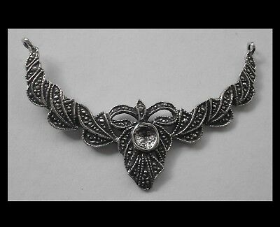 PEWTER CHARM #1518 NECKLACE PIECE (58mm x 40mm) 2 bail ART DECO STYLE