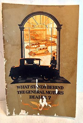 Rare GM 1926 Booklet: What Stands Behind the General Motors Dealer?  (3572a)