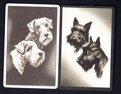 Vintage Swap/Playing Cards -  Terriers Portraits Pair
