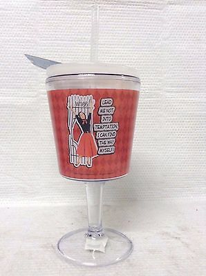 Temptation Travel Goblet With Straw Cute Picture & Quote With Checkered Design