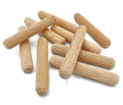 50, 8mm x 50mm FLUTED HARDWOOD WOODEN DOWEL PIN FOR CABINET MAKING, WOOD WORKING