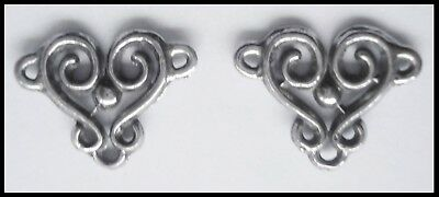 PEWTER CHARM #2395 CONNECTOR JOINER 2 bail scrolls (16mm x 13mm) JEWELLERY ETC