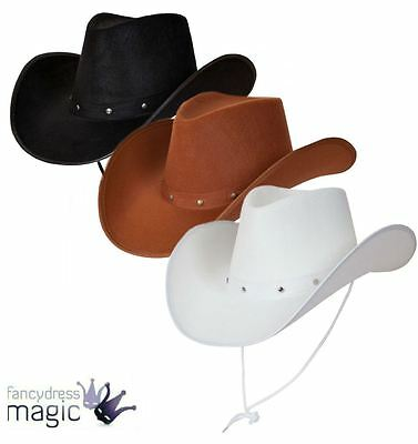 *Texan Cowboy Hat Suede Look Fancy Dress Mens Ladies Studded Wild West Western*