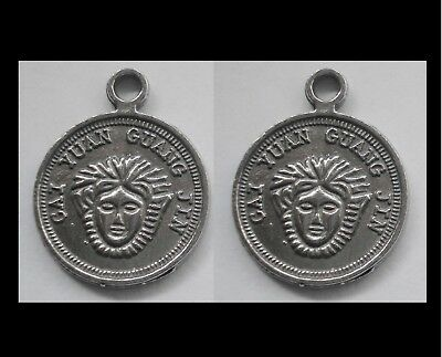 PEWTER CHARM #2451 x 2 JEWELLERY COIN PENDANT  (22mm x 17mm) LUCKY COIN