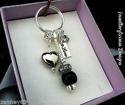 Beautiful Love Heart Black Bead Crystal Keyring Key Ring Gift Loved One