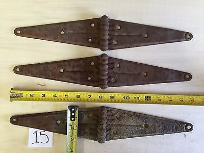 "3 Vintage Barn Door Hinges 16"" Rusty Antique Salvage Hardware Ranch Farm"