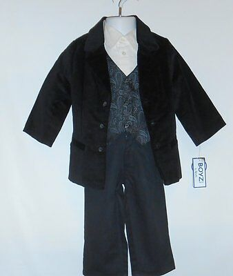 Boyz Wear by Nannette Toddler Boys Four (4) Piece Dressy Suit Black 2T NWT