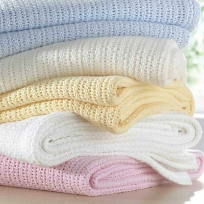 New 100% Cotton Baby Cellular Soft Blanket Cot Bed Mosses Pram Basket Soft Arms