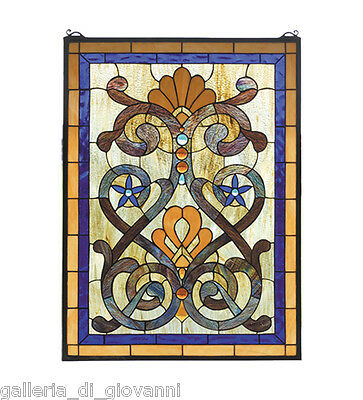 Mandolino Stained Glass Tiffany Style Window  Panel