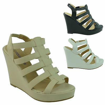 New Ladies Womens Strappy Slingback Platform Wedges Heel Ankle Strap Shoes Size