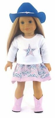 Western Skirt Set, Cowboy Hat, & Boots for 18 inch American Girl Doll Clothes