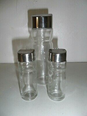 Vintage table set clear Glass Salt & Pepper shakers with oil cruet w/Chrome Cap