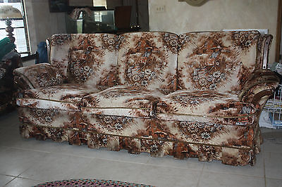 Vintage Deville Sofa & Chair Western Pioneer Pattern 1970s Country Cottage Style