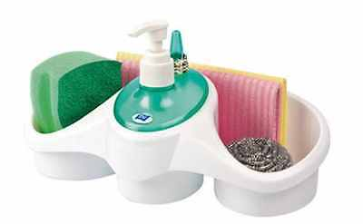 Combo Washing Up Liquid Soap Dispenser & Sponge Holder Plastic Kitchen Sink Tidy