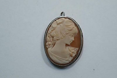 "Beautiful Carved Shell Cameo In A Sterling Frame 1 5/8"" X 1 1/16""  A443"