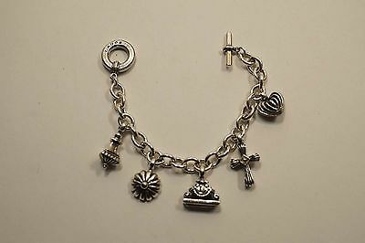 Lagos Caviar Sterling Silver Charm Bracelet With 5 Charms  63.8 Grams  A455