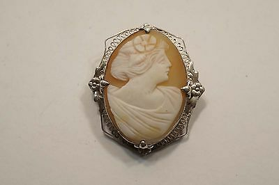 "Nice Carved Cameo Brooch With Solid Silver Filigree Frame 1 5/8"" X 1 1/2""   A441"