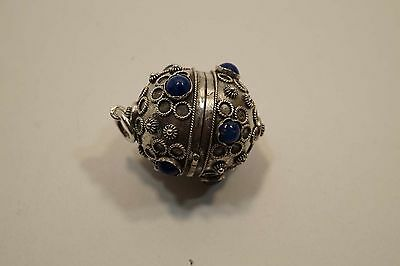 Vintage Solid Silver Hollow Ball Bola Pendant With Blue Stones(Lapis??) A446