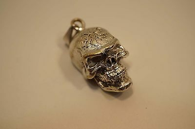 Vintage Mexico Sterling Silver Skull Pendant W/ Movable Jaw 13.7 Grams  A456
