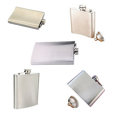 Stainless Steel Whisky Liquor Alcohol Pocket Hip Flask +Funnel W1