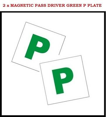 2 x Fully Magnetic P Plate Passed Pass New Driver Green Plates For Car Vehicle