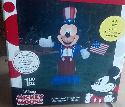 July 4Th Disney Mickey Mouse  American Flag Airblown Inflatable Patriotic Usa
