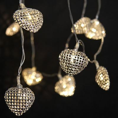 Lattice Hearts - 12 LED Indoor String Light Chain - Battery Powered