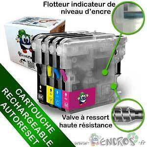 RECHARGEABLE-  Cartouche Rechargeable pour Brother LC1100 - Pack X4 Vides Garant