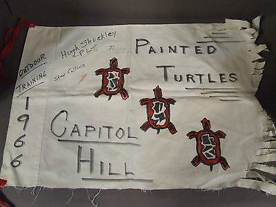 Vintage Bsa Boy Scout Painted Turtles Capitol Hill Outdoor Training Flag (A-1)
