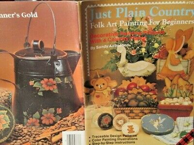 Just Plain Country Painting Book Folk Art Teddy Bear, Mushrooms, Goose, Angels,