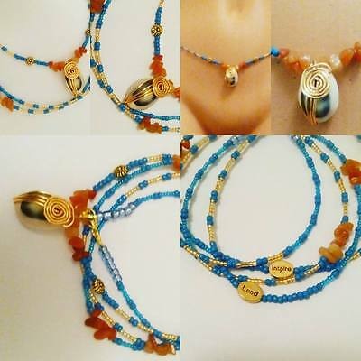 Amber and Cowry wire wrap on Turquoise seed Beads-Lead-Inspire- Waist Beads
