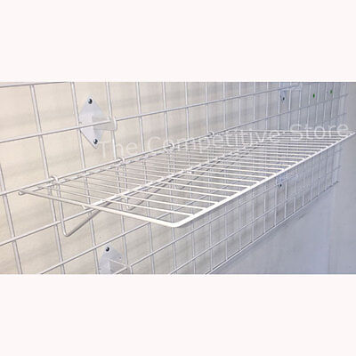 "Gridwall 12"" X 24"" Straight Shelf Box Of 3 - White - Fits All Grid Wall Panels"
