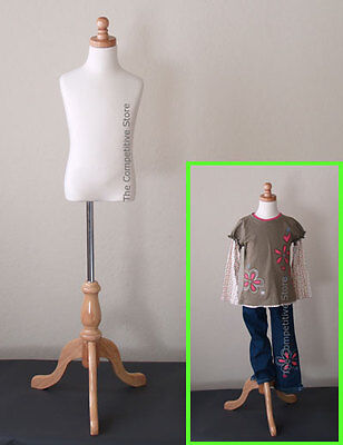 Kids 5-6 Years Cream Child Jersey Mannequin Dress Form With Natural Wooden Base
