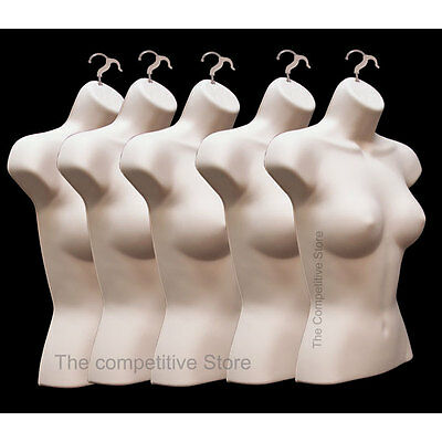 Lot Of 5 Female Torso Mannequin Forms Flesh - Great For Small And  Medium Sizes