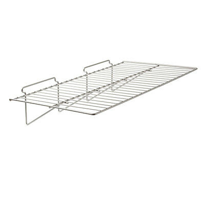 "12"" X 24"" Straight Shelf For Slatwall 6 Pcs - Chrome Fits All Slat Wall Panels"