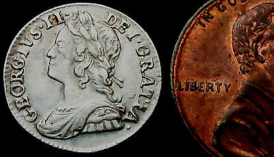 R550: 1756 George II Silver Twopence -  Wolfgang Amadeus Mozart is born.
