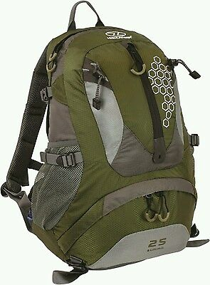 Highlander Summit 25 Litre Walking Hiking Camping Backpack Rucksack Olive Green