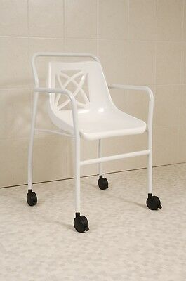 Fixed Height Economy Mobile Shower Chair With Four Lockable Castor Wheels
