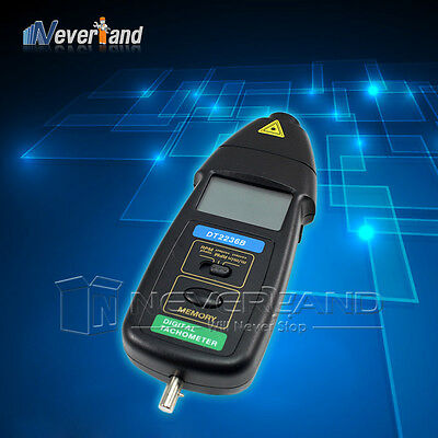 Hot Sell! High Quality DT2236B 2in1 Digital Laser Photo Contact Tachometer RPM