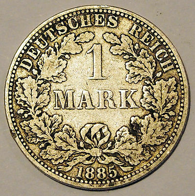 1885 'A' - Germany - 1 Mark Silver coin - average circulated condition