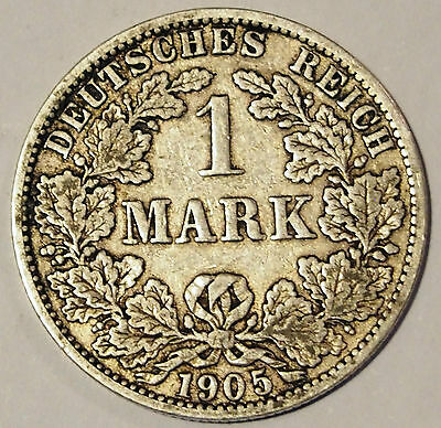 1905 'A' - Germany - 1 Mark Silver coin - average circulated condition
